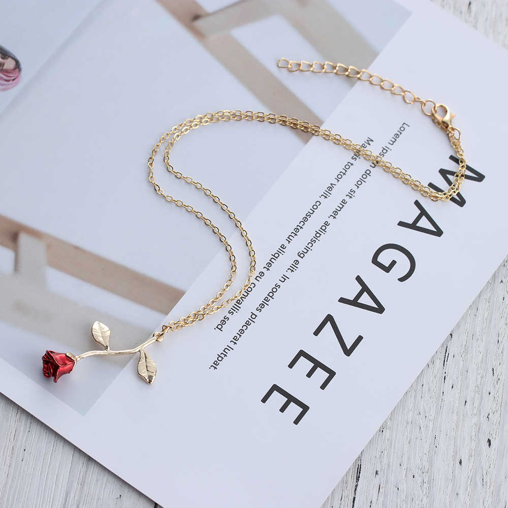 BIJOUX Đỏ Hoa Hồng Hoa Vòng Nữ Choker Hoa Hồng Vàng Màu Sắc Mặt Dây Chuyền Hoa Vòng Cổ Boho Trang Sức Charm Tặng Quà Xinh Xắn