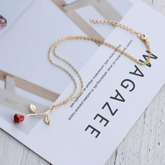 Bijoux Red Rose Flower Statement Necklace Women Choker Rose Gold Color Flower Pendant Necklace Boho Charm Jewelry Nice Gifts