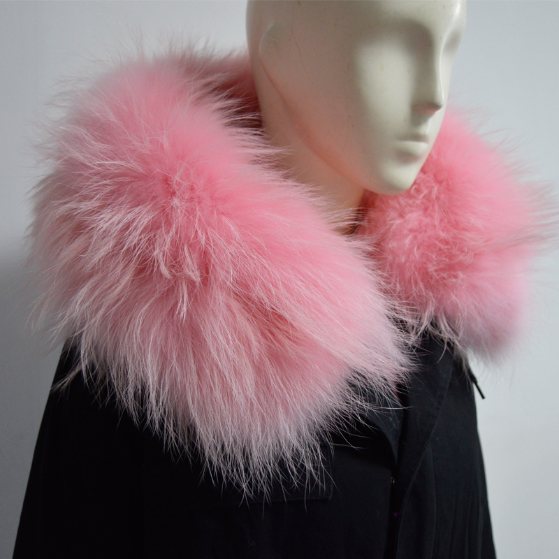 Free shipping High Qulity Thick Warm Winter fox fur outerwear baby pink fur parka Mrs raccoon fur hood jacket