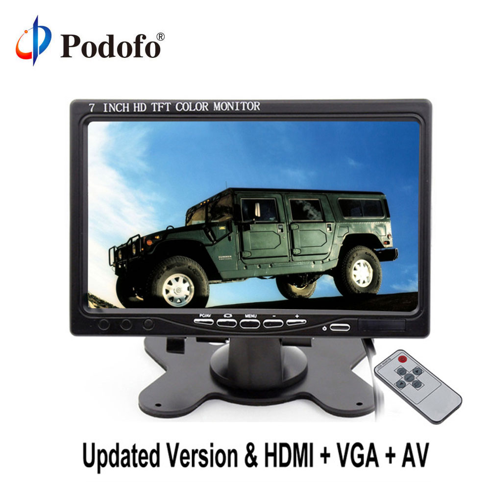 Podofo 7'' LCD Car Monitor Rearview Screen HDMI VGA AV 2 Video Input PC Audio Video Display Rearview Monitor +Remote Control тетрадь на скрепке printio pam pam pam pa pa chihuahua