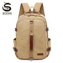 Scione Vintage Canvas Backpack Men Women School Bag Retro Shoulder Bookbags Male Travel Back Pack Fashion Ladies Female Rucksack