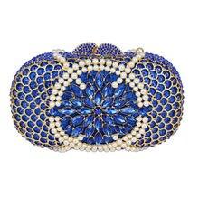 LaiSC 2016 Neue design Damen handtasche perle Diamant abendtasche Luxus Kristall Partei Geldbörse Blau Hochzeit tasche SC295