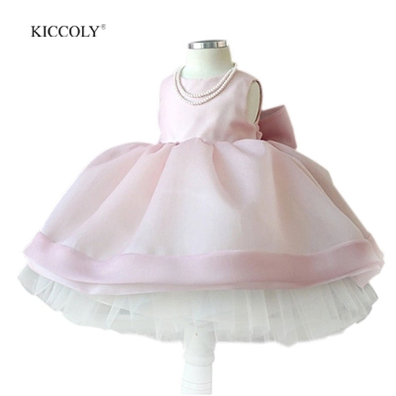 Flower Girl Dress 2017 New Girls Big Bow Birthday Wedding Party Princess Dresses Kids Pink Tutu Mesh Costume Children Clothes