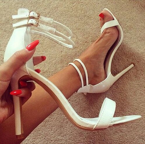 ФОТО women elegant double ankle strap white stiletto heel sandal concise stylish party shoes on sale plus size US10