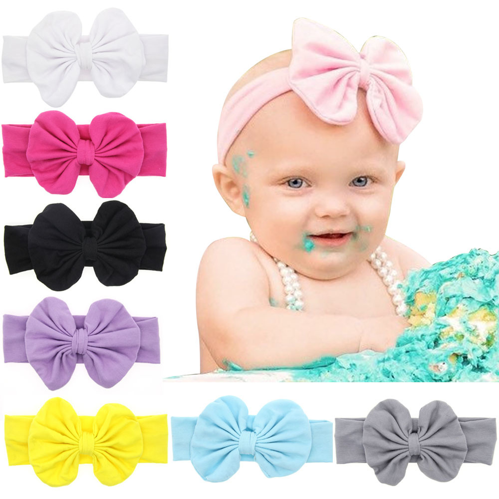 1 PCS New Cute Girls Newborn Kids Soft Stretch Rabbit Bows Turban Hairbands Headbands Hair Band Accessories 2017 new fashionable cute soft black grey pink beige solid color rabbit ears bow knot turban hat hijab caps women gifts