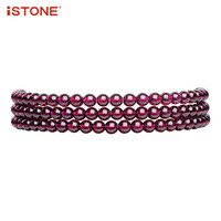 iSTONE High Grade Garnet More Strings Bracelets Or As Necklace 4MM Round Beads 100% Natural Gemstone Fine Jewelry Gift for Women