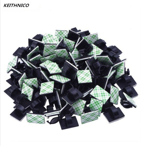 KEITHNICO 20pcs Adhesive Car Cable Clips Cable Winder Drop Wire Tie Fixer Holder Cord Organizer Management Desk Cable Tie Clamps