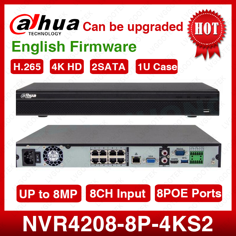 Standard Shipping Dahua NVR4208-8P-4kS2 8CH NVR 8MP 1U 8PoE 4K&H.265 Lite Network Video Recorder 2SATA With Logo