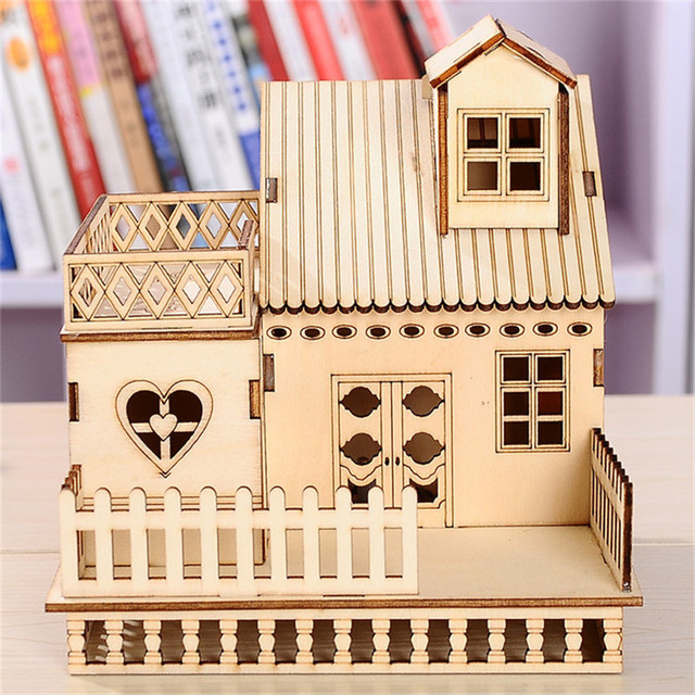 Cube Led Haus Holz Handwerk Hause Beleuchtete Haus Modell Miniatur