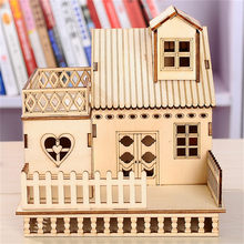 Cube LED House Wooden Craft Home Lighted House model miniature Lamp Table Decoration Accessory Gift Christmas Party DIY crafts(China)