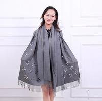 Women Cashmere Scarf Cut Floral Shawl Pure Color Tassels Warm Winter Soft Scarves Brand NEW Long