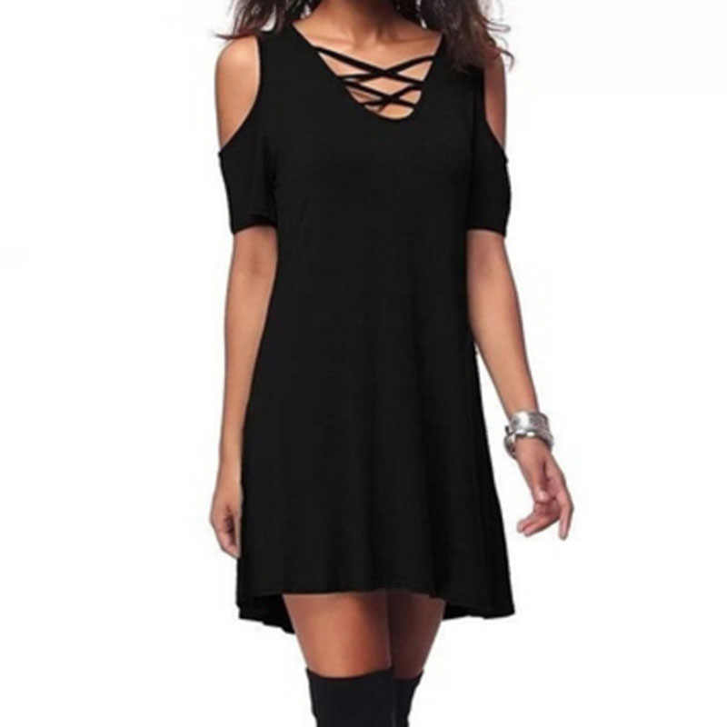 Women Cross Cold Shoulder Mini Shirt Dress Loose Tunic Swing Long Sleeves Party Basic Dress Nightclub