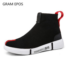GRAN EPOS 2019 new autumn High Top Men Casual Shoes Slip On Male Fashion Striped Footwear Couples Sock Shoes Mens botas mujer