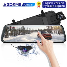 AZDOME PG02 Car DVR Camera 10 Stream Media Rear View Mirror FHD 1080P GPS Dash Cam Registrar Video Recorder 720P Back