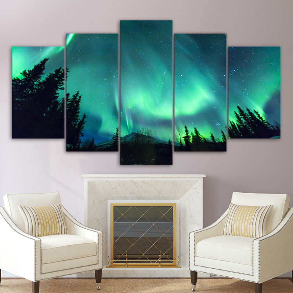 5 Panels Canvas Prints Painting Wall Art Forest Aurora