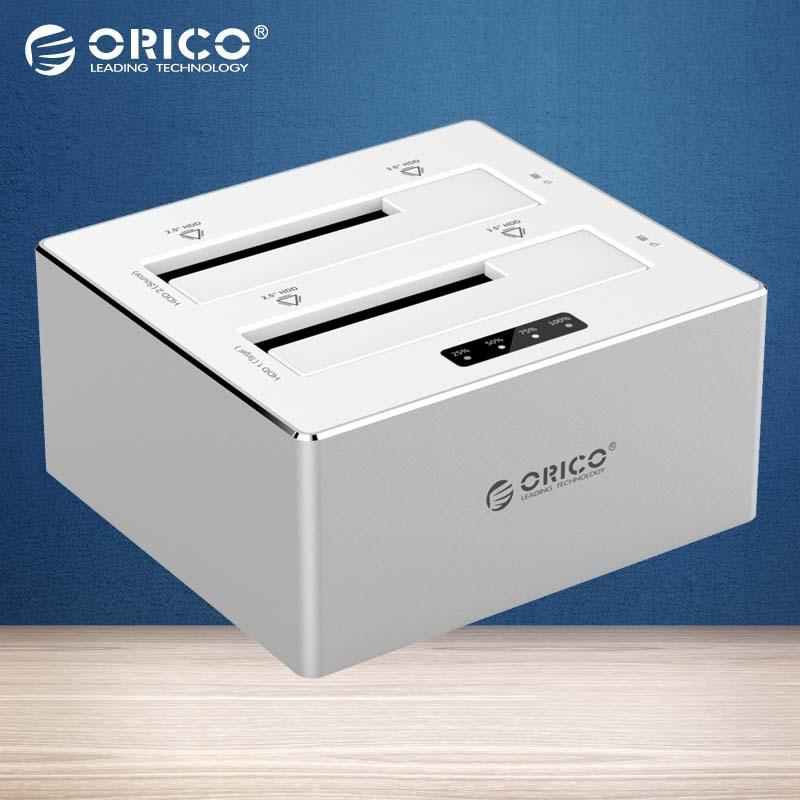 Prix pour Orico usb 3.0 à sata 3.0 double-bay hdd station d'accueil en aluminium avec clone fonction pour 2.5 et 3.5 pouce hdd, ssd