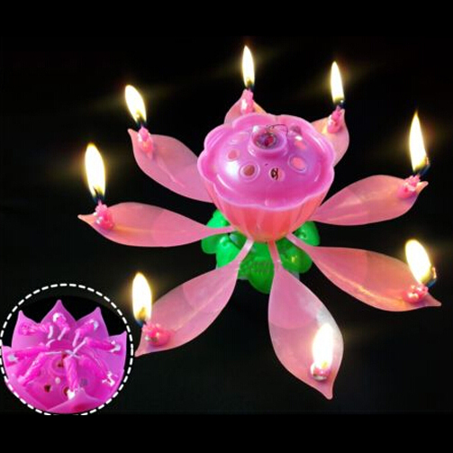 Beautiful Lotus Happy Birthday Sparkling Fountain Flower 8 Petals Candle Cake Topper Decoration Kids Party Supplies