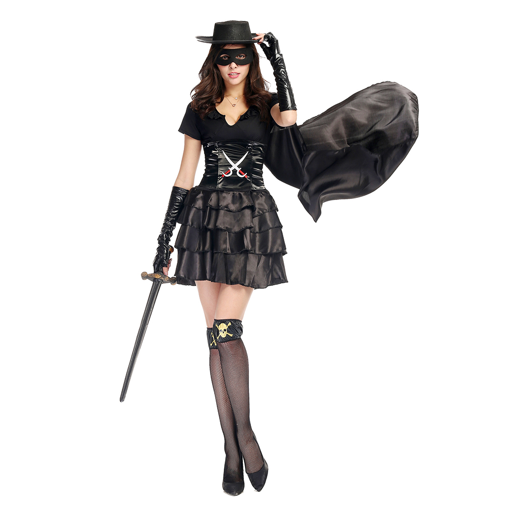 black zorro costume stockings outfit bandit beauty ladies zorro