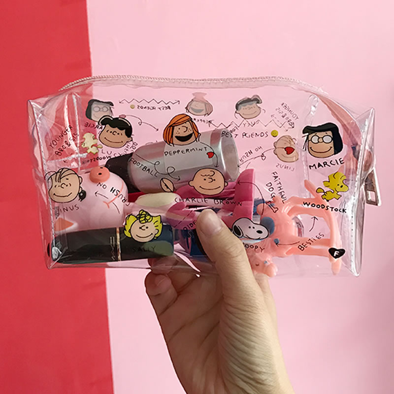 Cute Cartoon Girl Makeup Bag Transparent Women Cosmetic Bag PVC Zipper Makeup Kit Travel Toiletry Organizer Beauty Case Holder