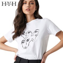 HYH Haoyihui Femme Simple Summer Stylish White Casual Tops O-Neck Basic Style Abstract Face Printing Round Collar Short Sleeve