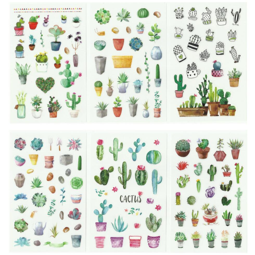 6 Pcs/pack Green Cactus Plant Decorative Washi Stickers Scrapbooking Stick Label Diary Stationery Album Stickers