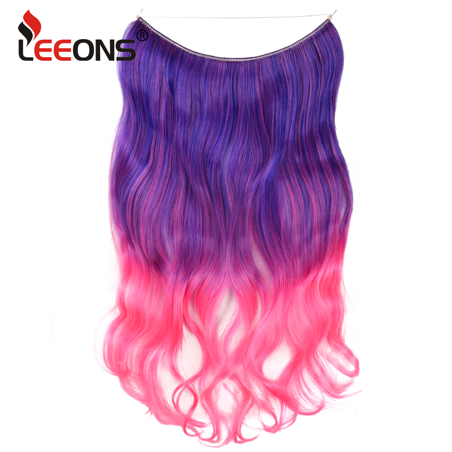 Leeons Ombre Long body wave Synthetic Hair Heat Resistant Hairpiece Fish Line Hair Extensions Secret Invisible Hairpieces ...