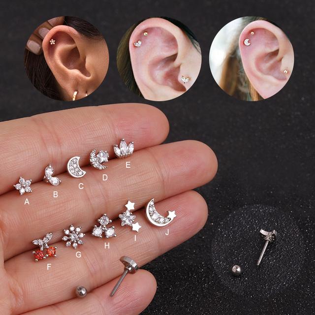 Feelgood Cz Moon Star Flower Tiny Cartilage Earring Small Cartilage Stud Ear Helix Piercing Jewelry