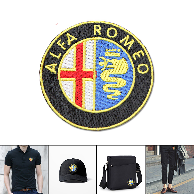 1pcs For Clothes Stickers Fabric Applique Patch Embroidery For Alfa Romeo 147 156 159 Mito Giulia Milano GT Q2 Car Accessories