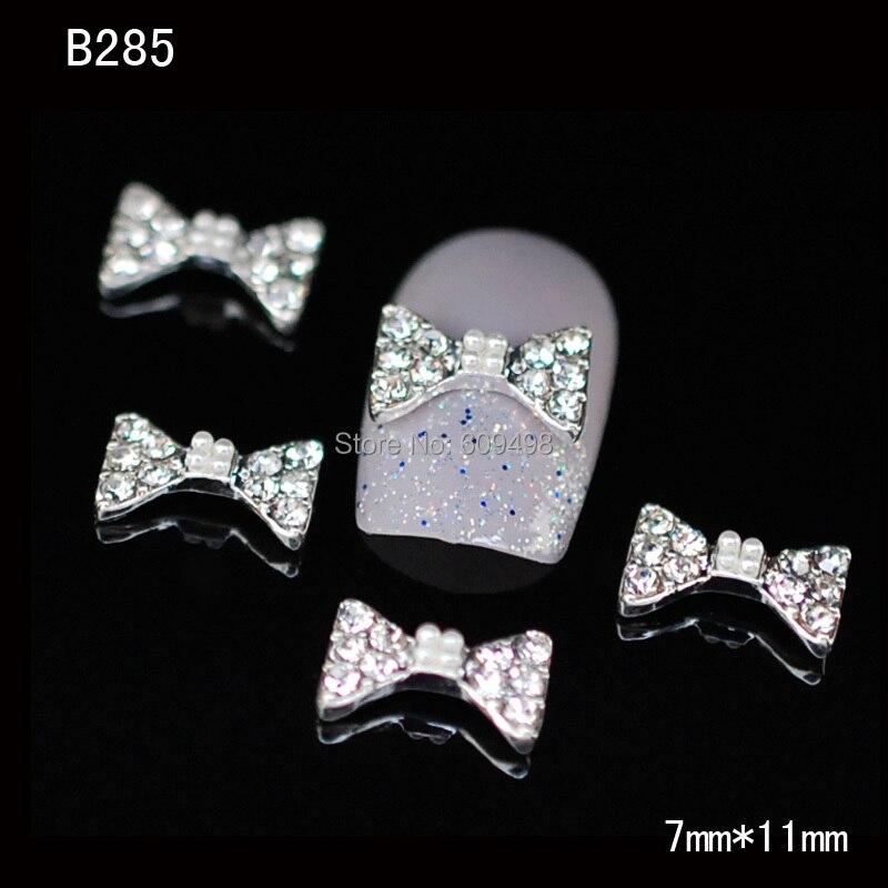 B285 50 шт./лот ногтей металлический сплав 3 D прозрачный кристалл алмаза бантом галстук-бабочка yakeli салон ногтей быстрое оформление