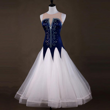 Ballroom Waltz Tango Dance Dress Ladys Elegant White Sleeveless Costume Women Competition Dancing Dresses