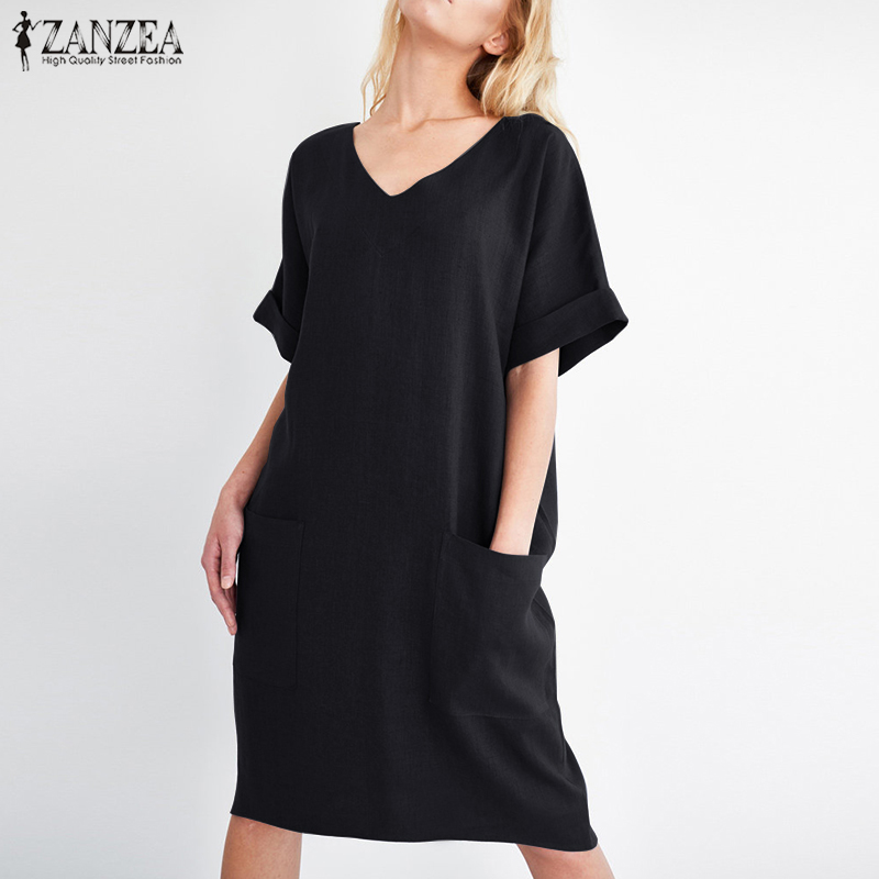 2018 ZANZEA Summer Women V Neck Short Sleeve Pockets Loose Solid Shirt Vestido Casual Elegant Cotton Linen Work Dress Plus Size 2