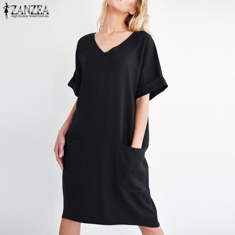 2018 ZANZEA Summer Women V Neck Short Sleeve Pockets Loose Solid Shirt Vestido Casual Elegant Cotton Linen Work Dress Plus Size 2
