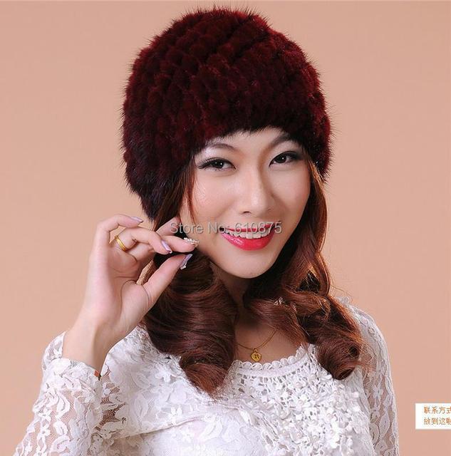 Hot Sale women winter Mink hair hat round mink hat high quality Women Thickening leather strawhat A07