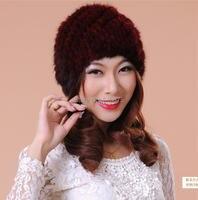 Women Winter Plus Size 100% Mink Fur Protection Ear Hats Female Fall Oversized Stretch Thick Skullies Beanies Fox Fur Warm Caps