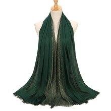 1 pc Women Shiny Gold Thread Shawls Soft Viscose Scarves Head Wrap Muslim Scarf Hijab Muffler