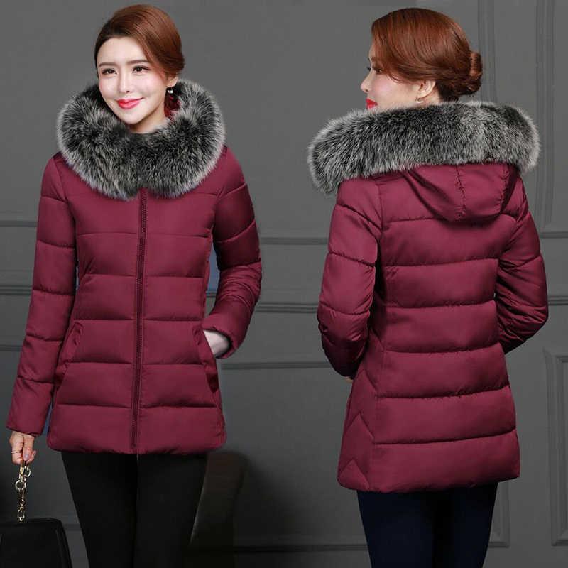 Vrouwelijke Warme Winter Jas 2019 Mode Vrouwen Winter jas Hooded Valse Vos Kraag Down Katoenen Jas Grote maat 5XL Vrouwelijke jas