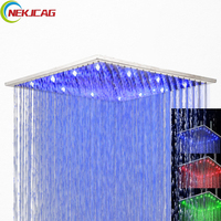 Chrome Polish Finish Brass Shower Head Bathroom LED Shower Head Faucet 8 10 12 16 20 inch Shower head