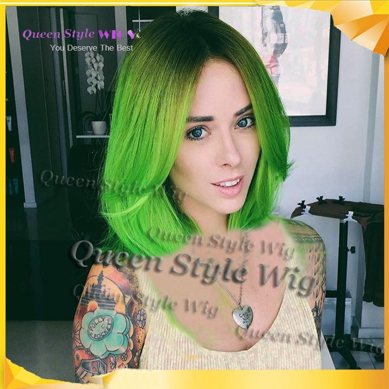 Couleur vert sur cheveux noir