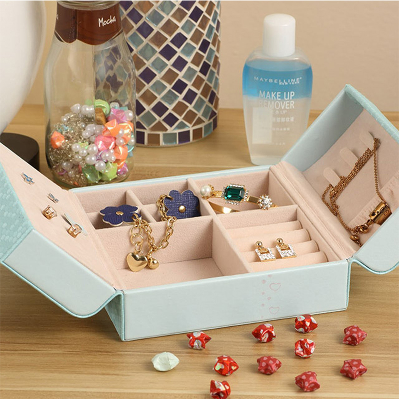 Jewelry Organizer Box Pu Leather Travel Makeup Cosmetic