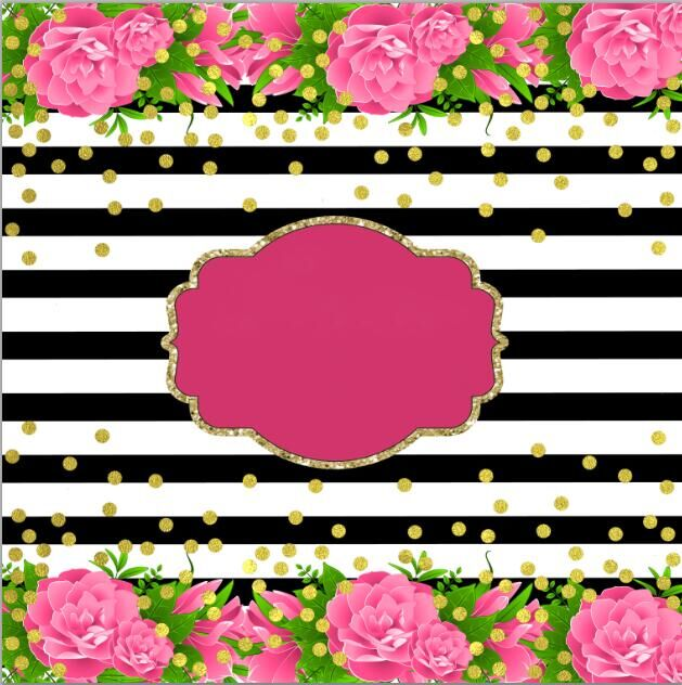 Pink Flowers Black White Stripes Gold Coins Backdrop Polyester Or