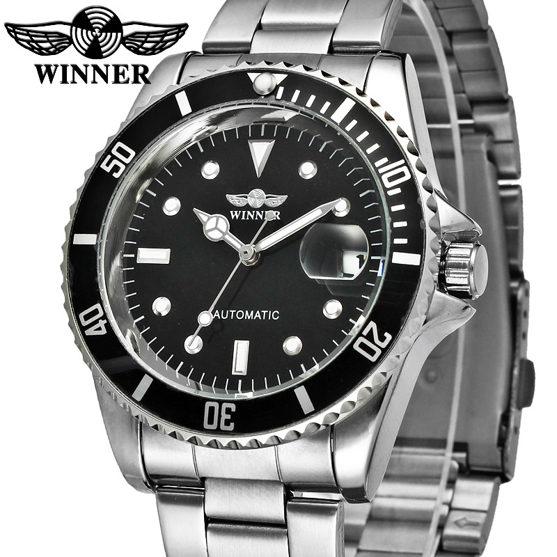 Mens Bezel Dial Automatic Mechanical Watches Male Stainless Steel Self-Wind Clock