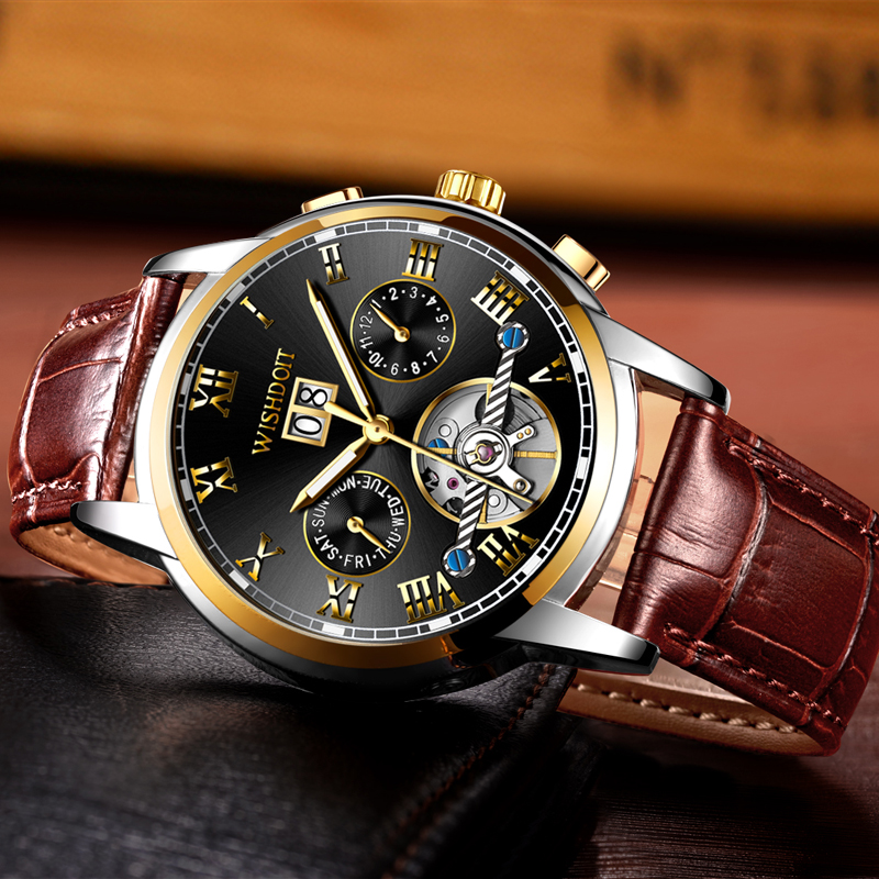 WISHDOIT Luxury Brand Watch Men's Automatic Mechanical Watch Men Sports Waterproof Business Watch Male Clock Relogio Masculino