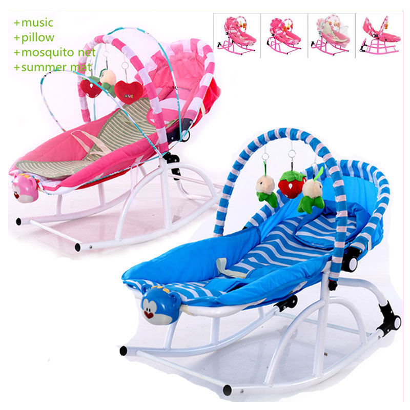 Newborn Baby Rocking Chair Comfort Toddler Cradle Deck Chair Sleeping Swing Lounge Chair Bouncers with Music Pillow Mosquito Net стоимость