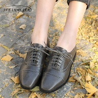 Genuine Leather Designer Vintage Flats Shoes Handmade Oxford Shoes For Women Big Size With Fur 2018