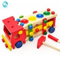 아기 나무 장난감 도구 어린이 도구 자동차 테이블 게임을 분해 공 나사 조립 정원 게임에 교육 노크 학습