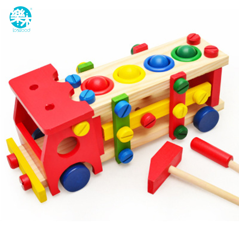 baby wooden toy tools kids tool car disassemble table games learning educational knock on the ball
