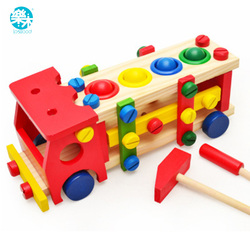 Baby wooden toy tools kids tool car disassemble table games learning educational knock on the ball.jpg 250x250
