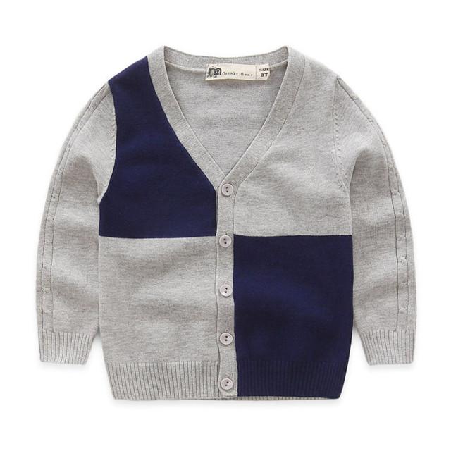 2016 novo roupas de bebê menino outono single-breasted meninos sweaters crianças patchwork cardigan malha casacos para meninos crianças outwear