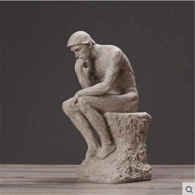 Thinker รูปปั้นประติมากรรม Fine Art ชายรูปเปลือยตกแต่งบ้านยุโรปเรซิ่น Figurine ห้องพักหัตถกรรม Drop Shipping
