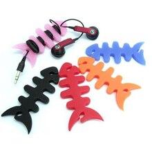 Marsnaska 10pcs Random Colour Fish Bone Cable Winder Organizer Soft Plastic Wire Line Holder For Earphone